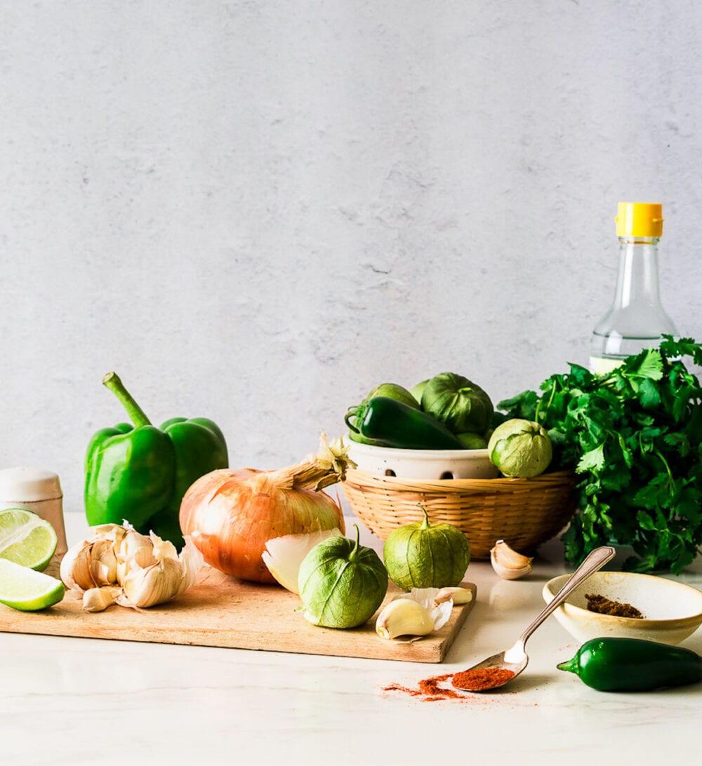 ingredients for canning tomatillo salsa verde