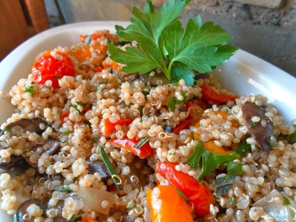 Balsamic Quinoa with Roasted Tomatoes, Mushrooms & Shallots
