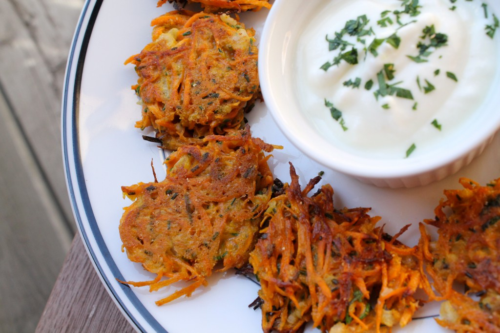 Sweet Potato Latkes with Greek Yogurt Sauce
