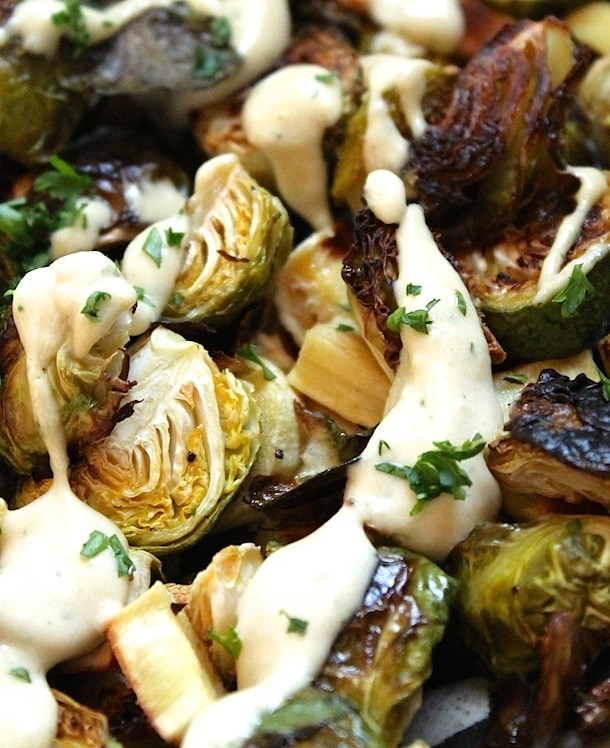 Roasted Brussels Sprouts with Tahini Sauce {gf, vegan}