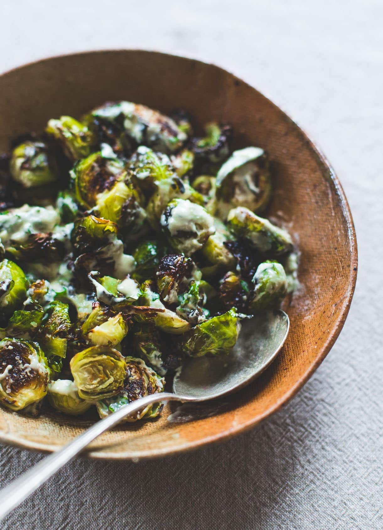 Vegan Roasted Brussels Sprouts with Lemon Tahini Sauce