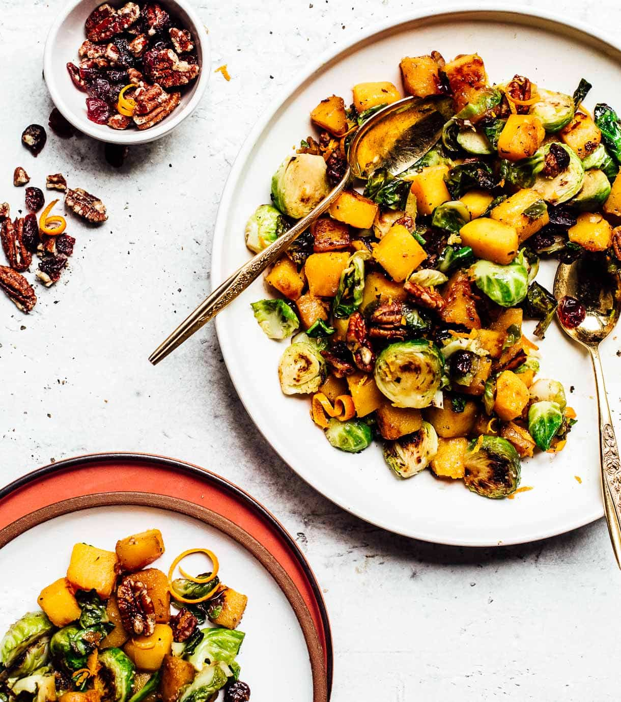 thanksgiving butternut squash and brussels sprouts