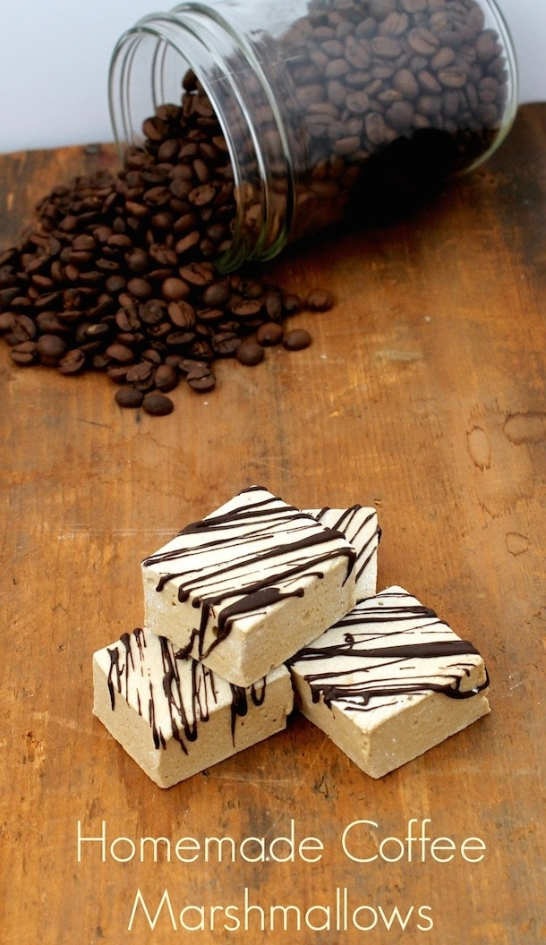 homemade coffee marshmallows, wrapped in dark chocolate