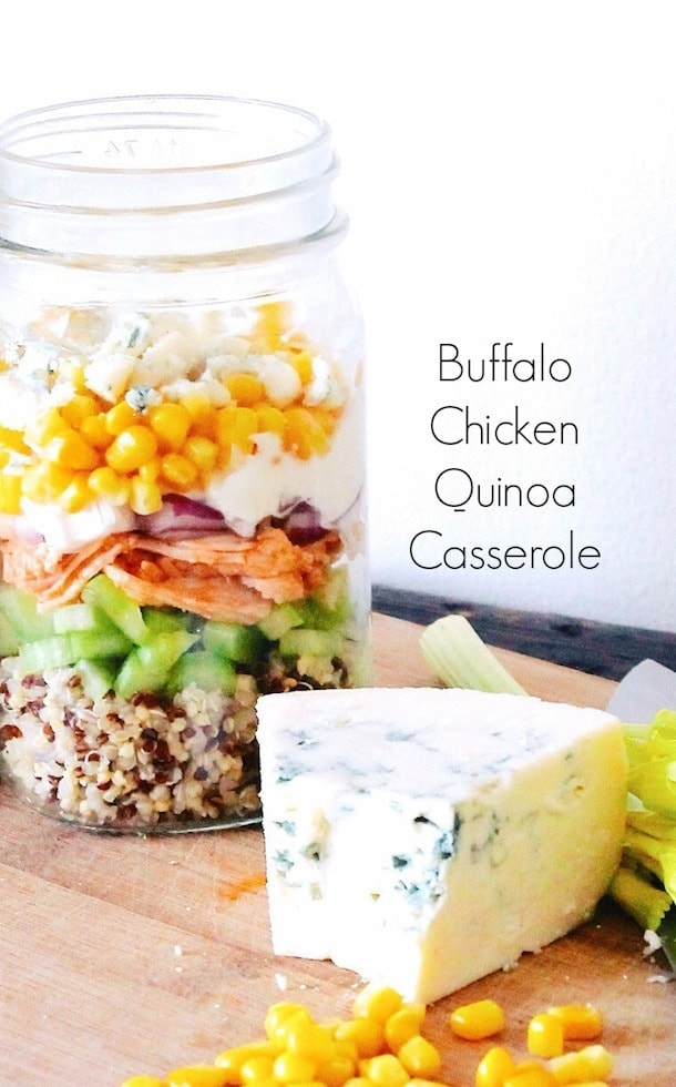 Buffalo Chicken Quinoa Casserole in a Jar | gluten-free, can warm it up and eat a hot meal on the go.