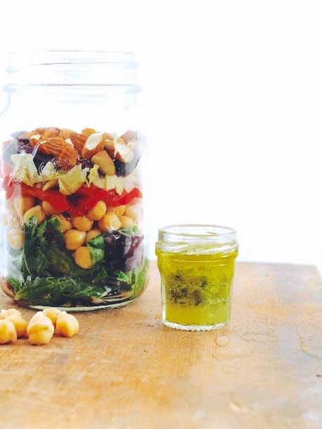 Greek Salad in Mason Jar