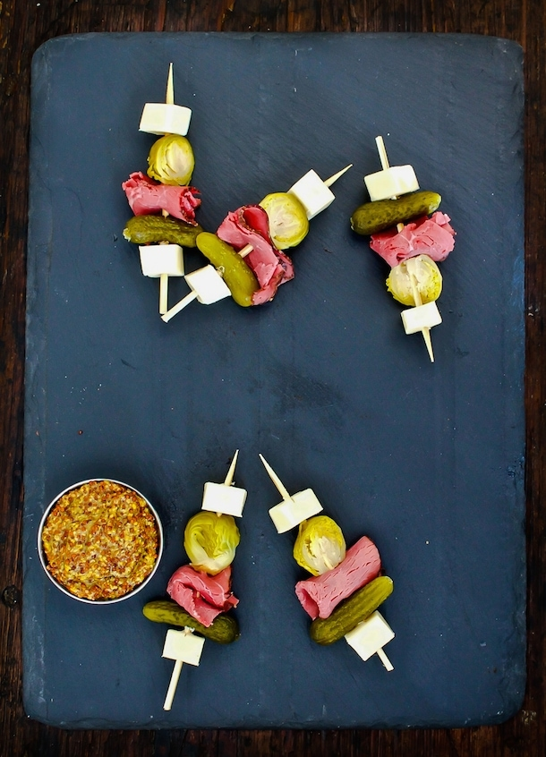 Luck of the Irish Skewers ~ with pickled brussels sprouts, pastrami, white cheddar & a teeny pickle