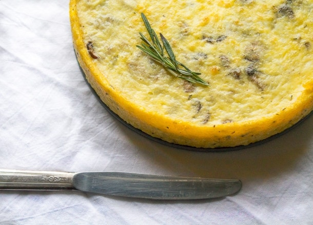 Caramelized Mushroom & Shallot Quiche with Polenta Crust ~ brunch recipe!