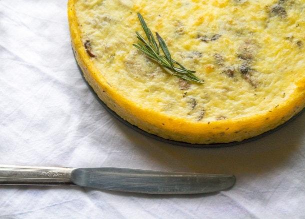 Caramelized Mushroom & Shallot Quiche with Polenta Crust ~ brunch recipe!