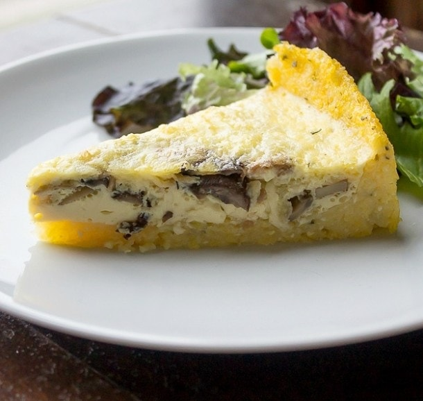 Caramelized Mushroom & Shallot Quiche with Polenta Crust ~ naturally gluten free