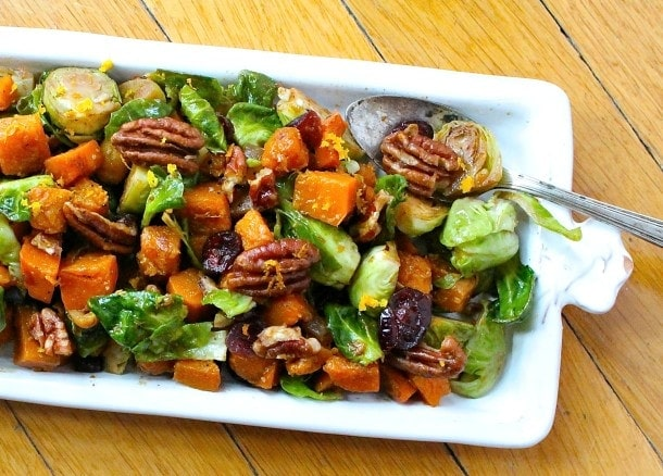 Orange Glazed Brussels Sprouts & Butternut Squash, see more at see more at http://homemaderecipes.com/healthy/18-brussel-sprout-recipes/