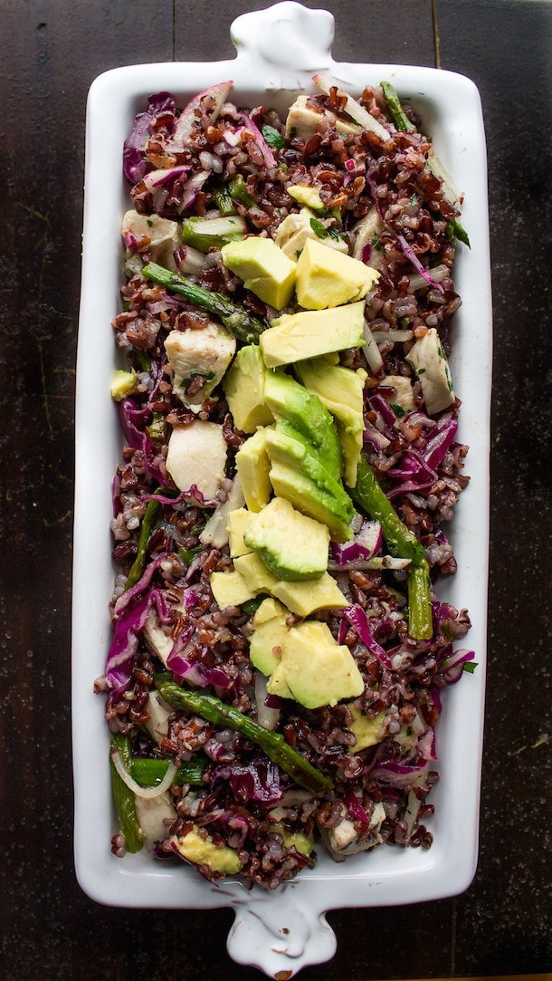 Black Rice Salad with Avocado & Spring Vegetables