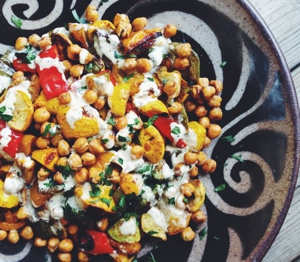 Garam Masala Dusted Pattypan Squash with Crispy Chickpeas
