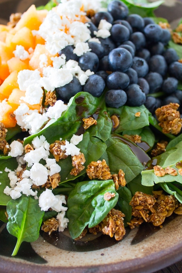 Summer Fruit and Feta Cheese Salad with Granola Clusters