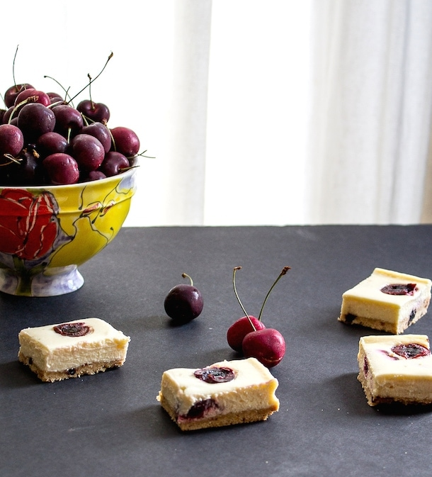 Cherry Cheesecake Bars with Nutty Shortbread Crust {gluten free}