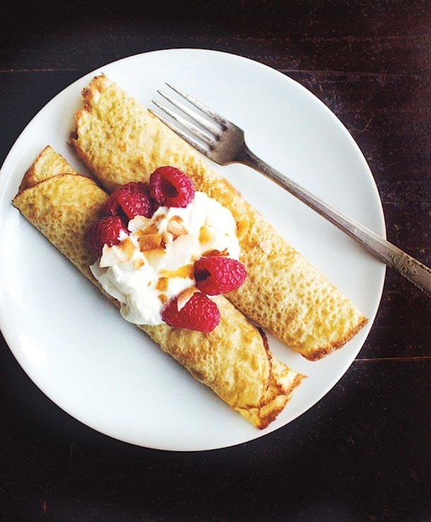Gluten Free Oat Crepes with Rapberries and Toasted Coconut