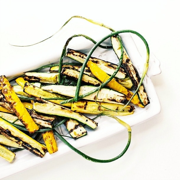 Grilled Summer Squash & Garlic Scapes | heartbeet kitchen
