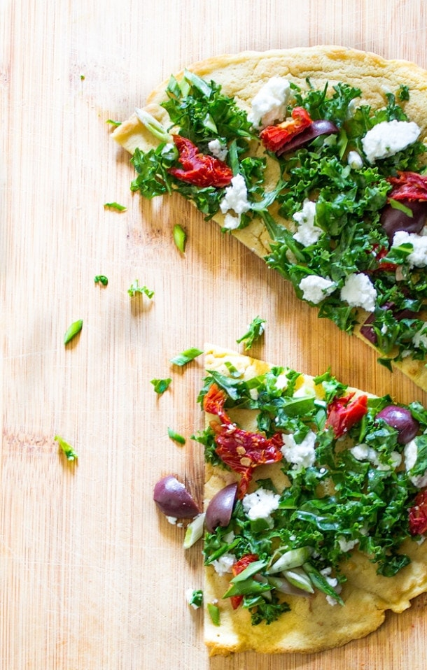 Socca for One : With Sundried Tomatoes, Kale & Kalamata Olives