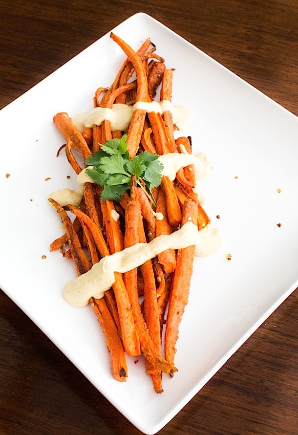 Cumin & Crushed Coriander Roasted Carrots with Hummus Sauce | heartbeet kitchen