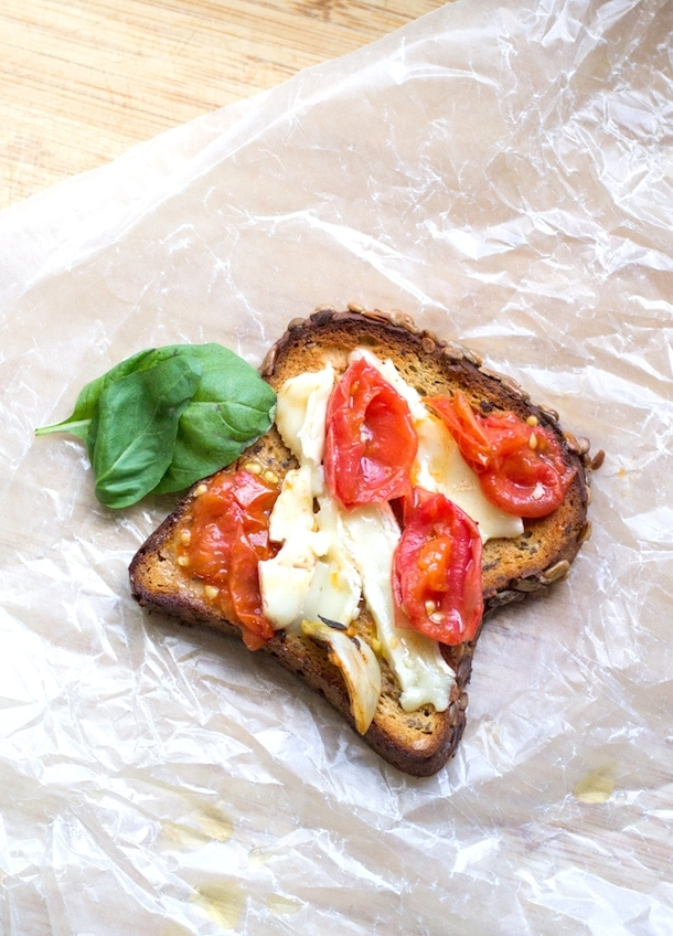 preserved cherry tomatoes & soft cheese on toast | heartbeet kitchen