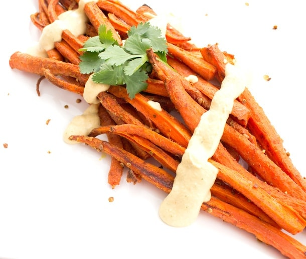 Roasted Carrots with Crushed Coriander & Hummus Sauce