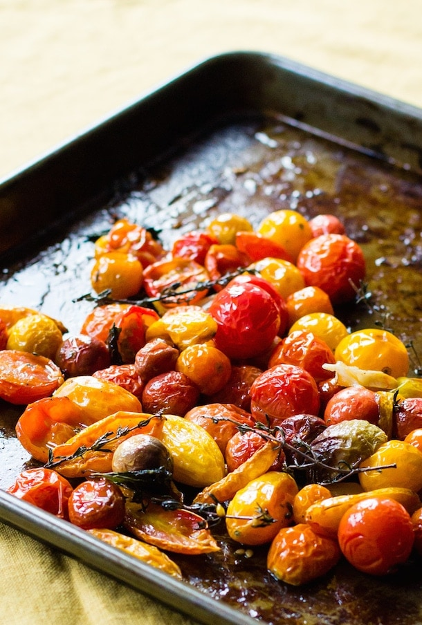 Slow Roasted Tomatoes with Herbs & Smashed Garlic