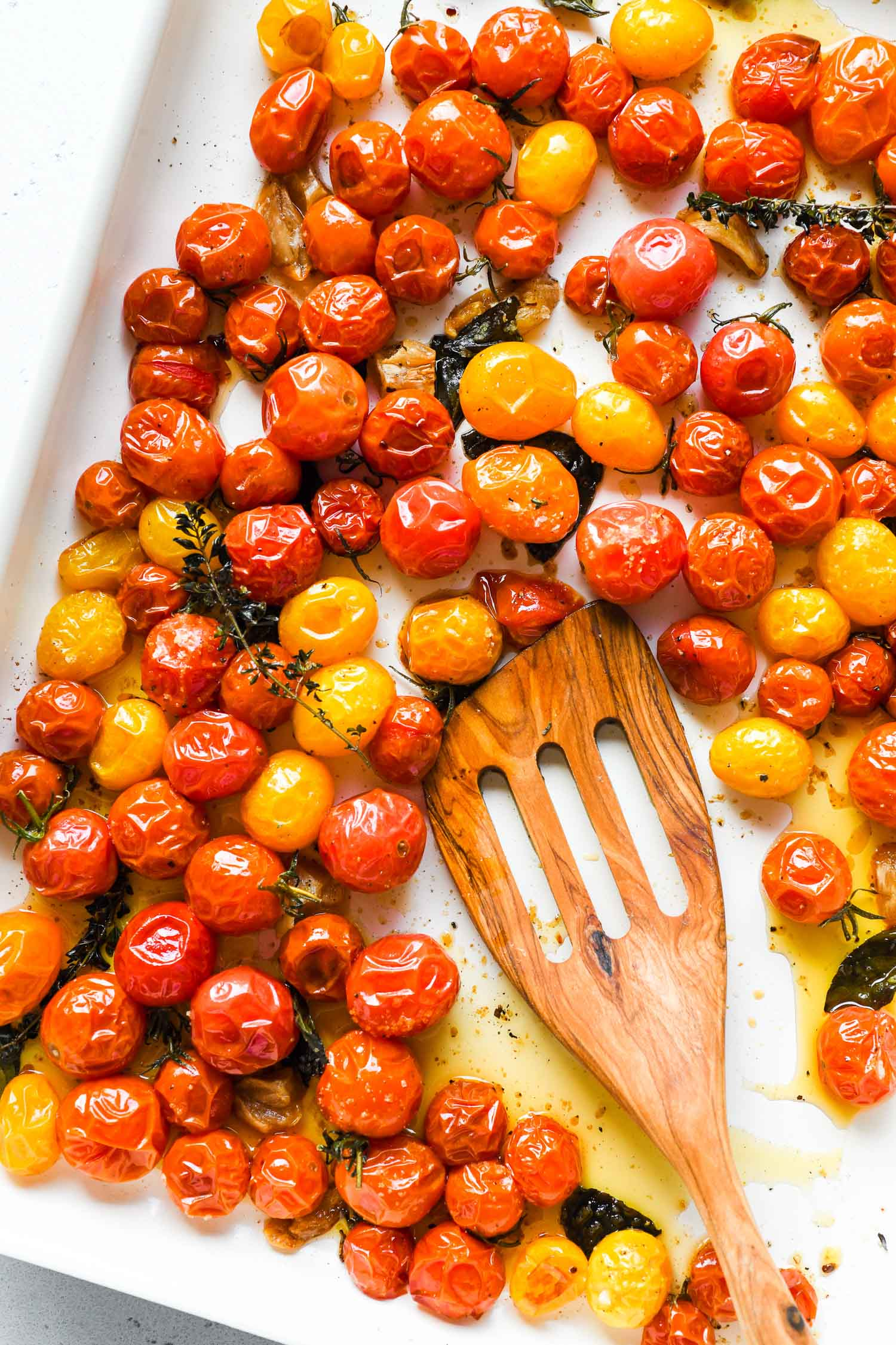 cherry tomatoes roasted in white pan