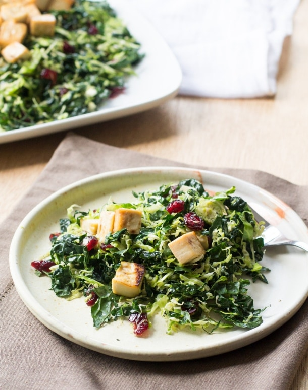 Warm Brussels Sprout and Kale Salad with Glazed Tofu | heartbeet kitchen