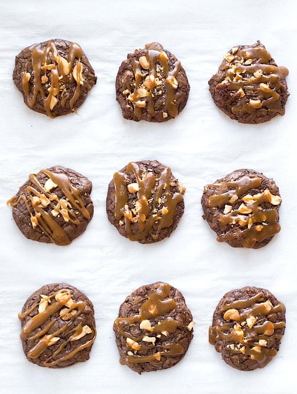 Caramel Cashew Chocolate Cookies {gluten-free}