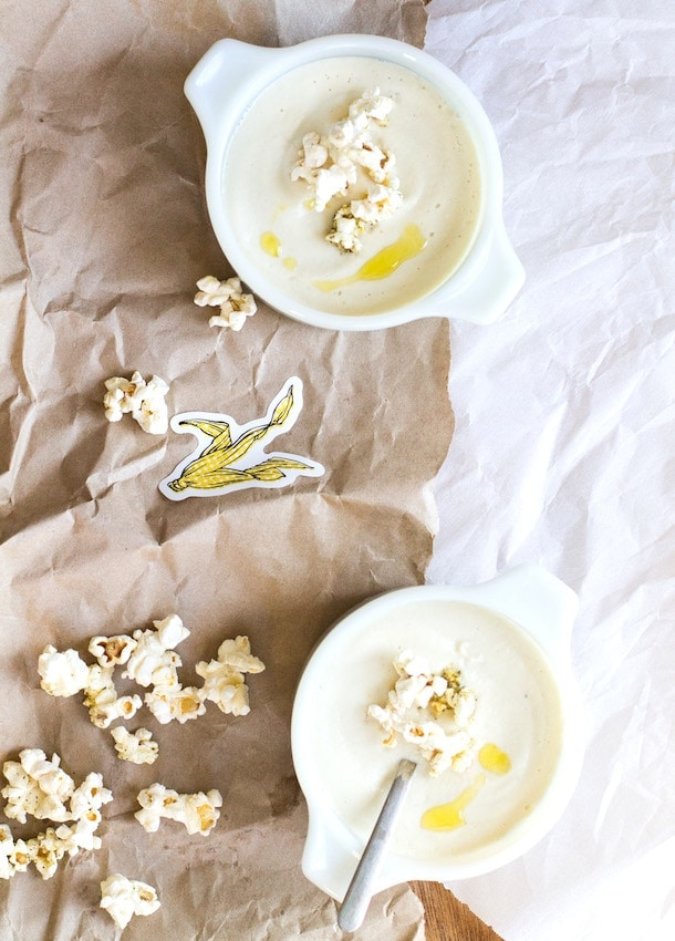 Creamy Cashew Cauliflower Soup with Herb Popcorn
