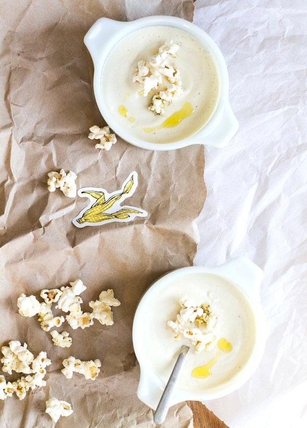 Creamy Cashew Cauliflower Soup with Herb Popcorn