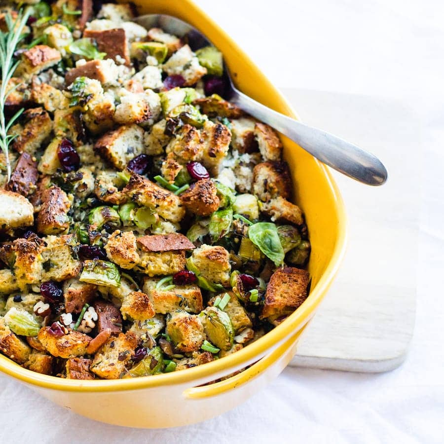 gluten-free herb stuffing with brussels sprouts (vegetarian)