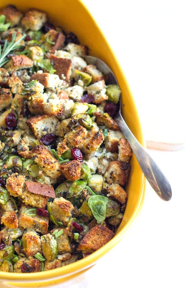 Gluten-Free Vegetarian Stuffing with Brussels Sprouts & Cranberries | heartbeet kitchen