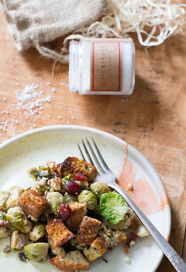 Gluten-Free Herb Stuffing with Brussels Sprouts & Cranberries | heartbeet kitchen
