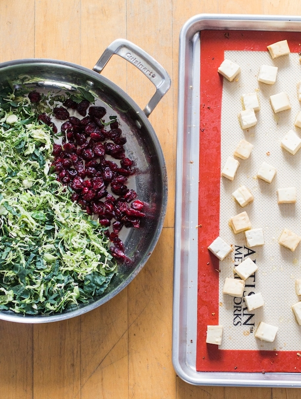 Warm Brussels Sprouts and Kale Salad with Maple Glazed Tofu {gf, v}