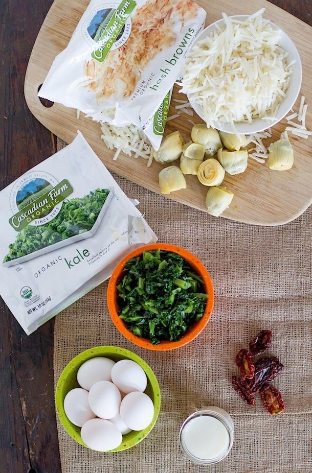 Kale and Artichoke Stuffed Egg Bake | with Cascadian Farms organic vegetables
