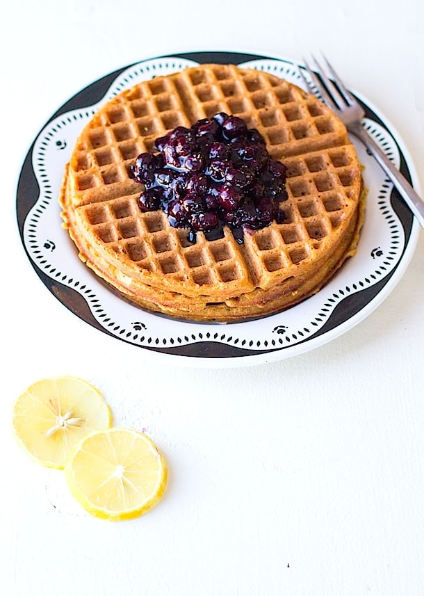 Simple Gluten-Free Waffles with Blueberry Cardamom Sauce | heartbeet kitchen