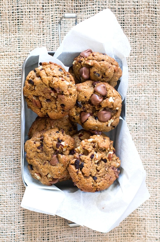 Peanut Butter Compost Cookies | with chopped nuts, cacao nibs, coconut & chocolate chips