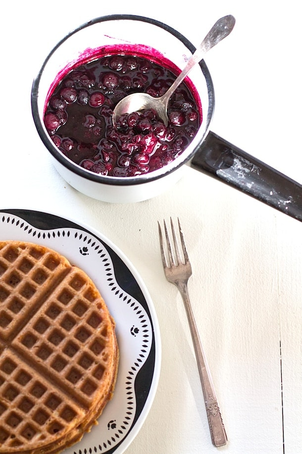 Simple Gluten-Free Waffles with Blueberry Cardamom Sauce |heartbeet kitchen