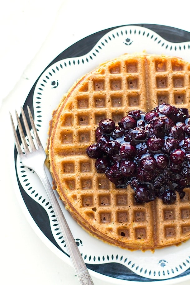 Simple Gluten-Free Waffles with Blueberry Cardamom Sauce | heartbeet ...