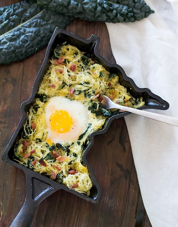 Spaghetti Squash Hash with Bacon & Kale | heartbeet kitchen