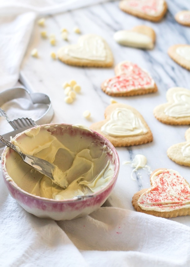 Gluten-Free Cut-Out Sugar Cookies | with simple white chocolate glaze