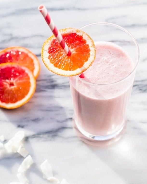 Blood Orange-Strawberry Coconut Smoothie {vegan}