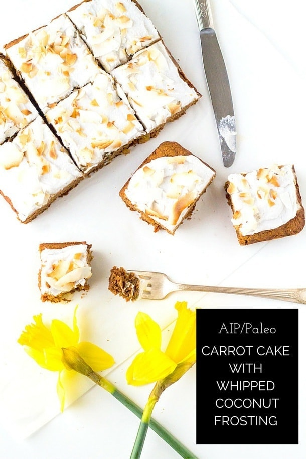 AIP Carrot Cake with Whipped Coconut Frosting (nut-free, dairy-free)