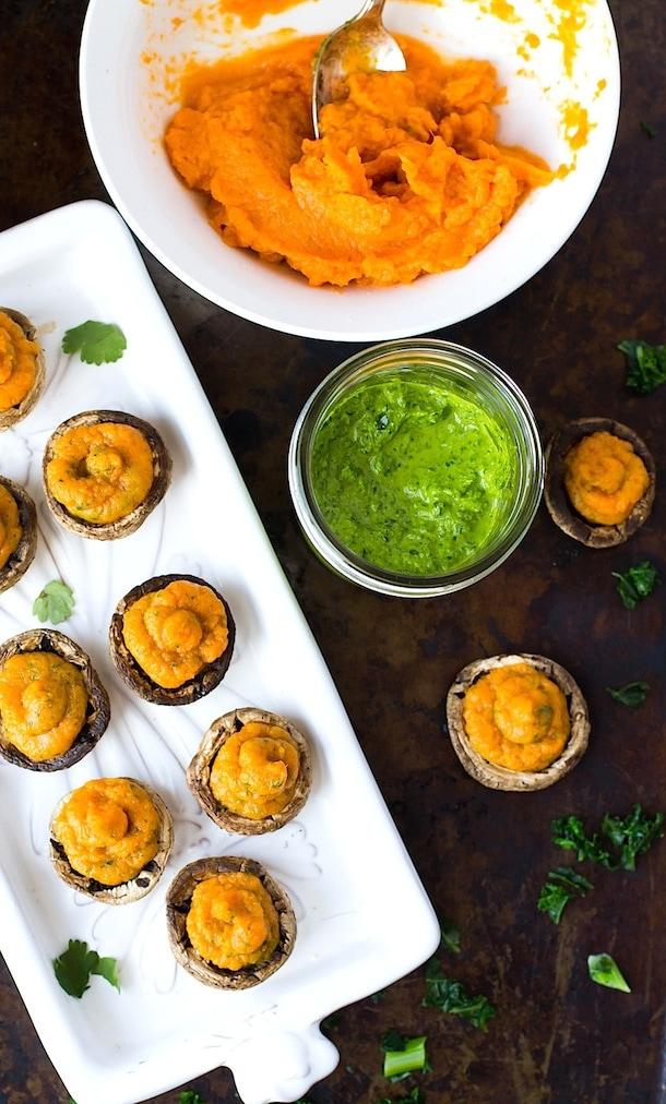 Stuffed Mushrooms with Chimichurri Sweet Potato Filling | Paleo, AIP, Vegan
