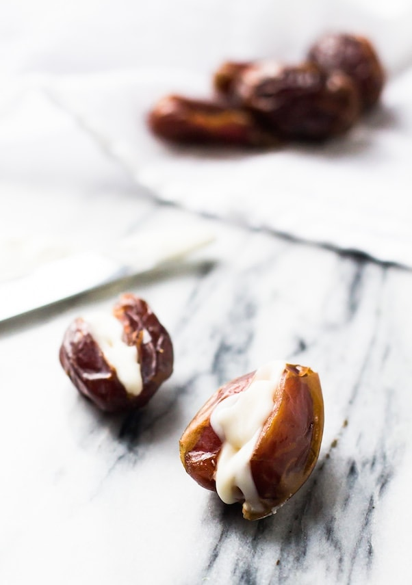 Coconut Butter Stuffed Dates: best 2 ingredient AIP/Paleo treat ever.