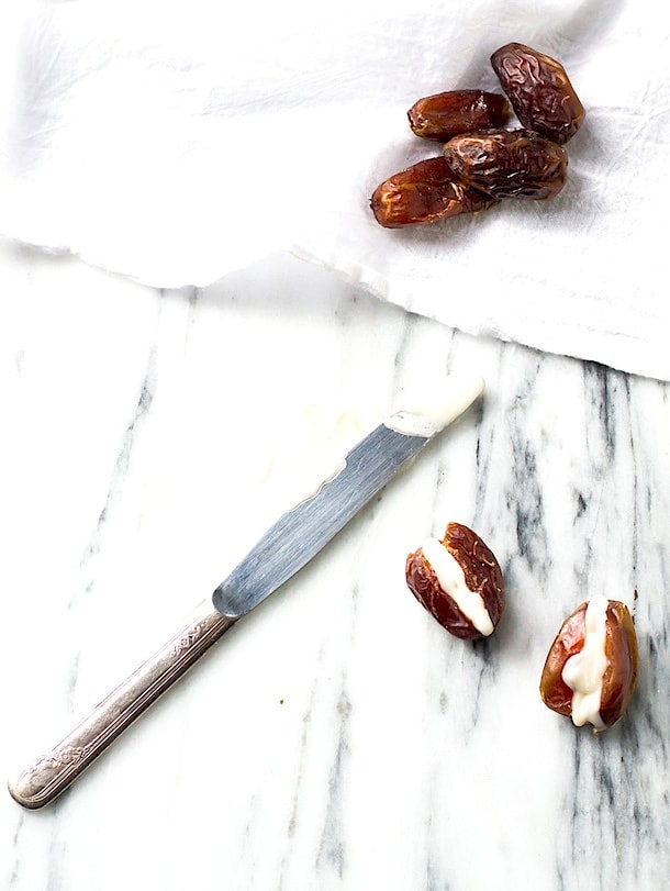 Coconut Butter Stuffed Dates - Paleo treat!