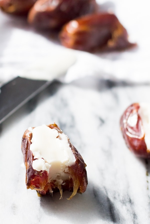 Coconut Butter Stuffed Dates ~ just 2 ingredients, tastes like a chewy coconut caramel.