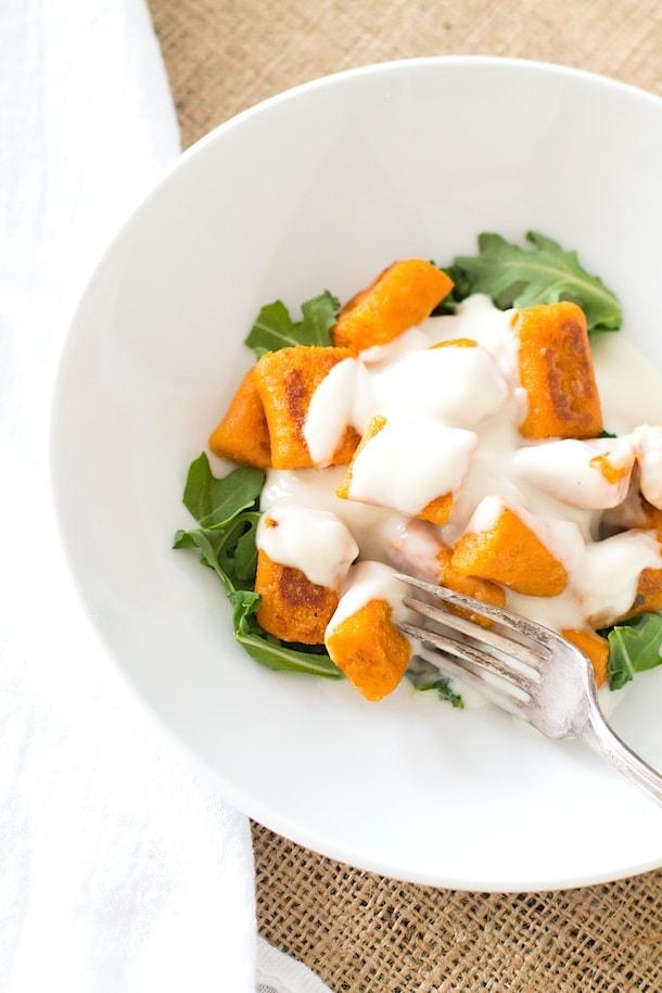 Gluten-Free Sweet Potato Gnocchi with Creamy Vegan Cauliflower Sauce