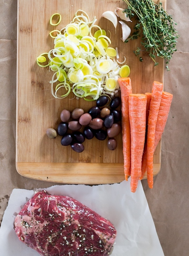 Slow Cooker Beef with Carrot Mash, Thyme & Olives
