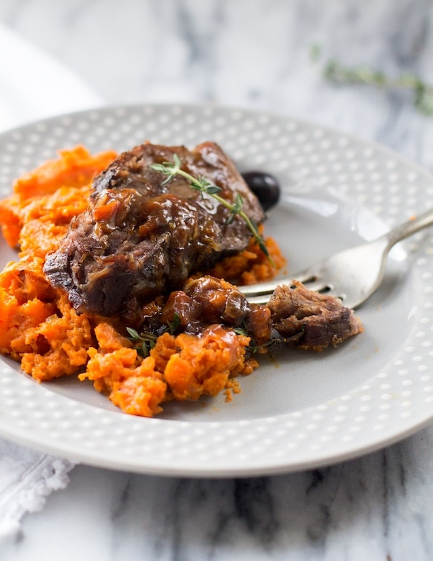 Slow Cooker Beef with Carrot Mash & Olives ~ AIP, Paleo (easy one-pot meal)